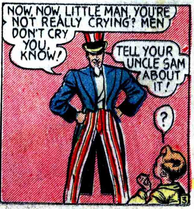 A panel from the first Uncle Sam story in National Comics #1, April 1940