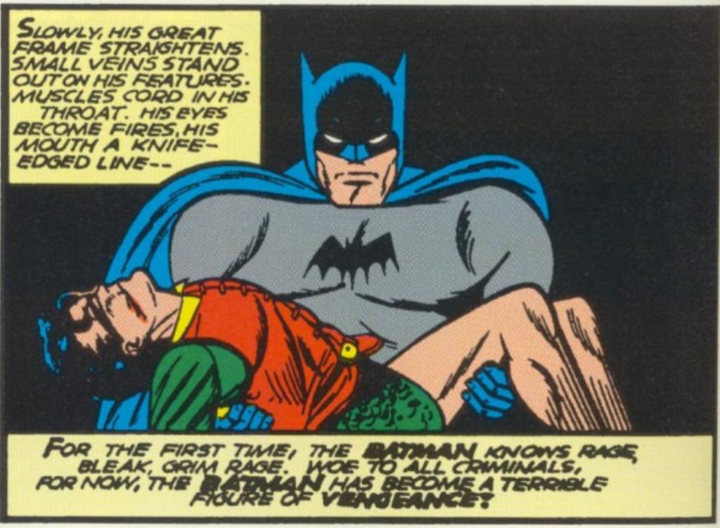 A panel from Batman #5, April 1941