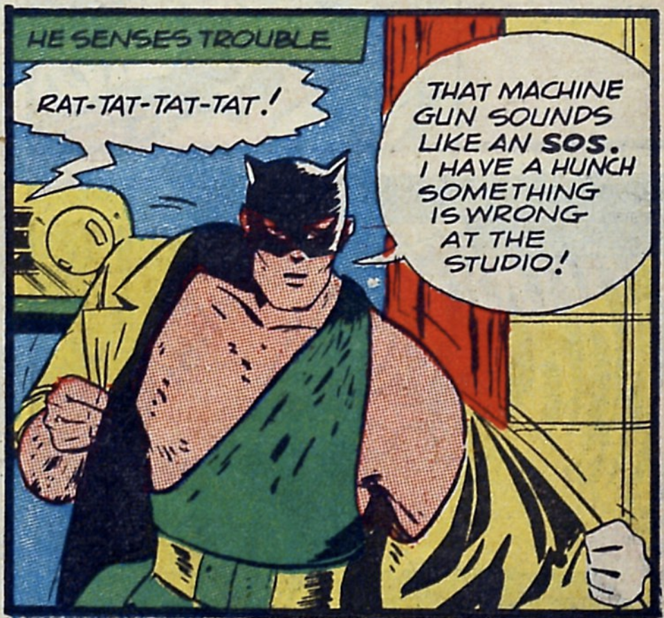 A panel from the Cat-Man story in Crash Comics #4, July 1940
