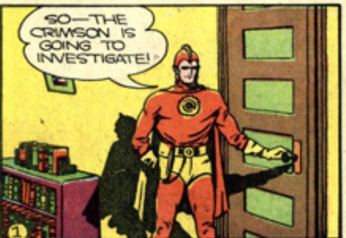 A panel from The Crimson Avenger, Detective Comics #44, September 1940