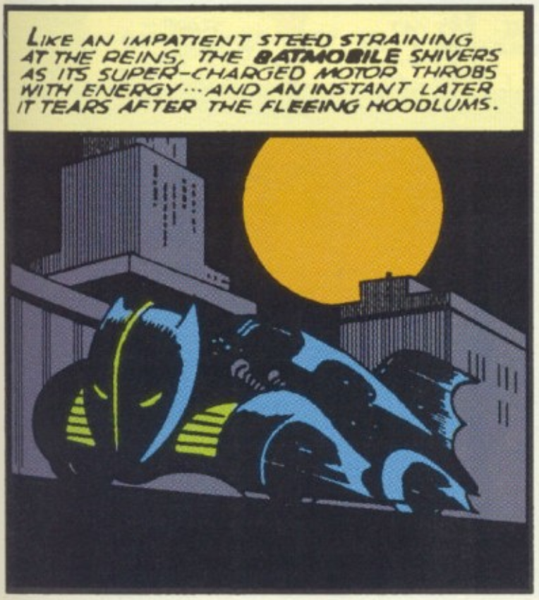 A panel showing the first official Batmobile from Batman #5, Apirl 1941