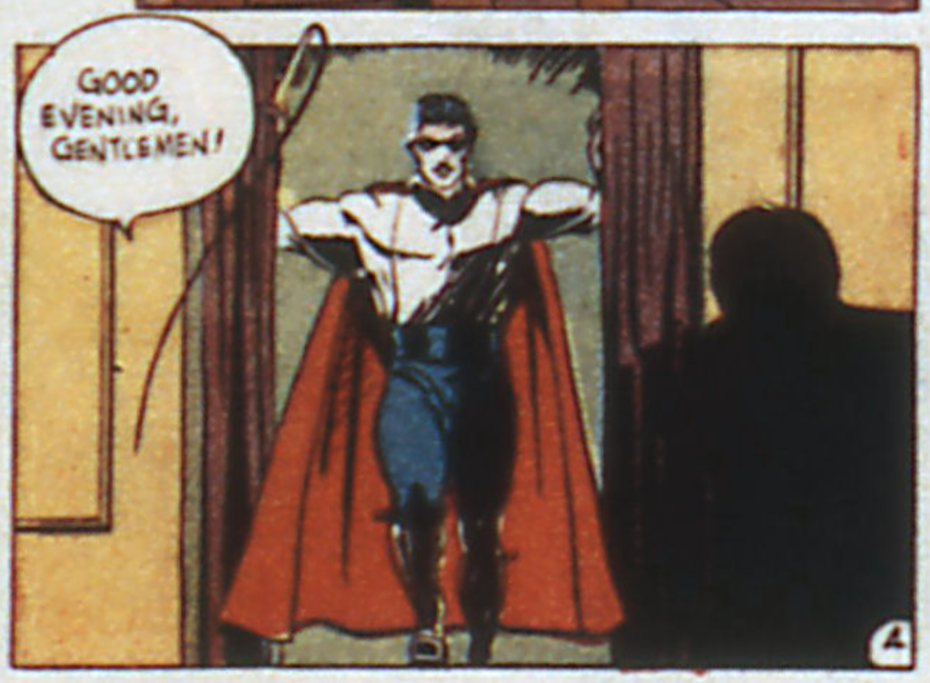 A panel from Mister America, Action Comics #34, December 1940