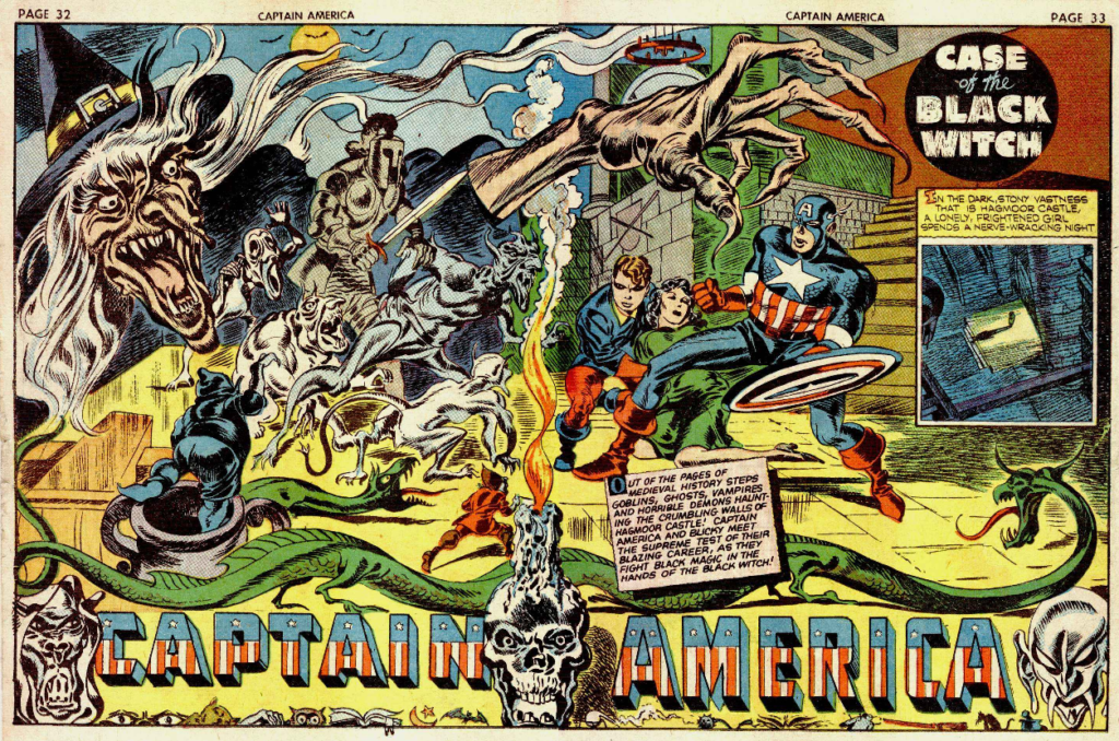 A two-page spread from Captain America #8, September 1941