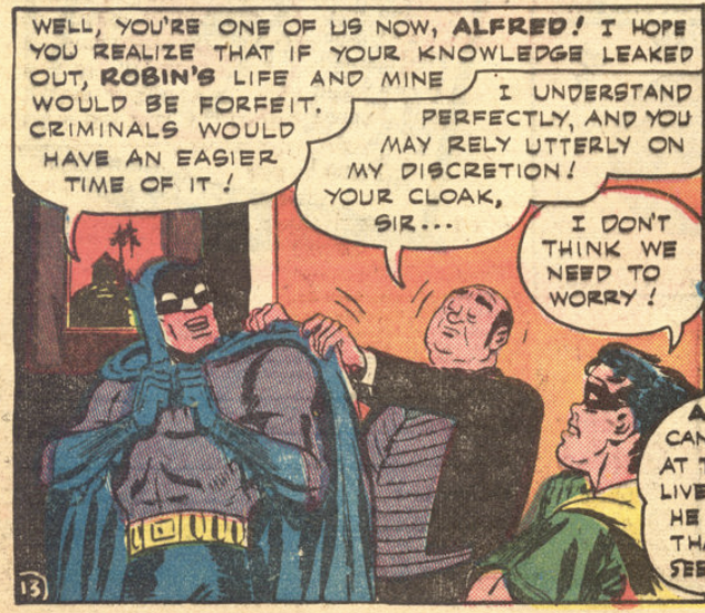 Alfred gains acceptance in his first appearance (Batman #16, March 1943)