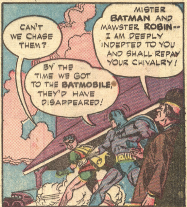 The first time Batman and Robin meet Alfred, from Batman #16, February 1943