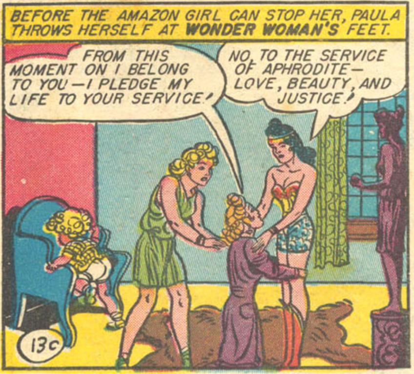 A panel from Wonder Woman #3, December 1942