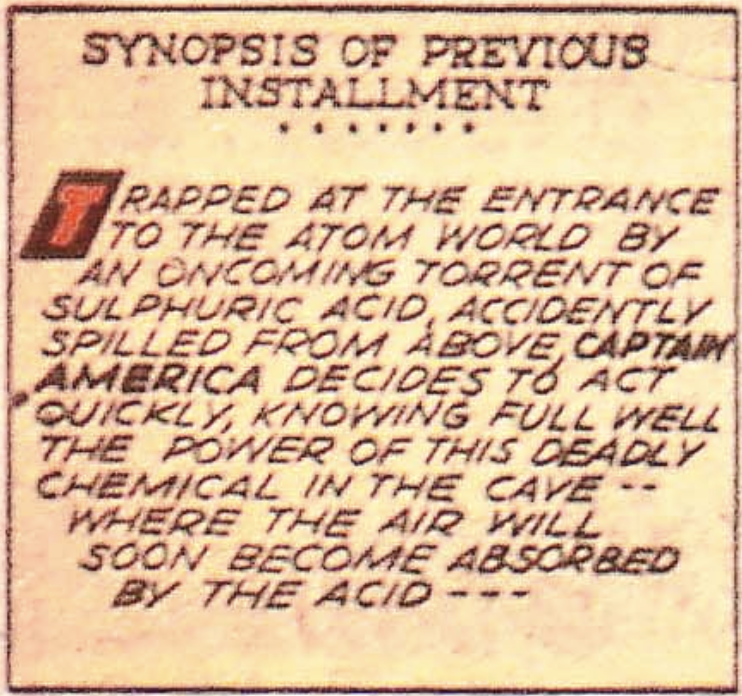The first panel in Captain America #26, March 1943