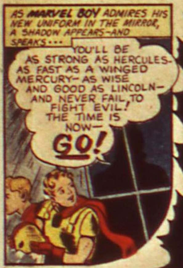 A panel from the Marvel Boy story in USA Comics #7, December 1942