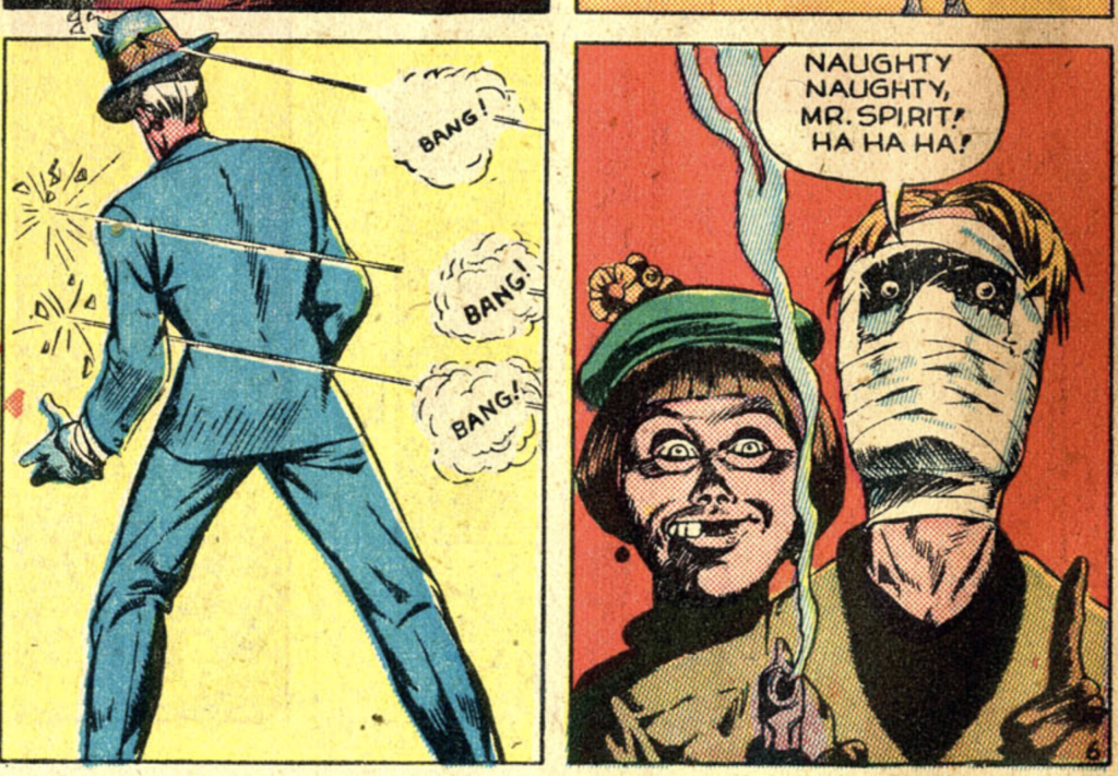 A panel from The Spirit strip in Police Comics #20, April 1943