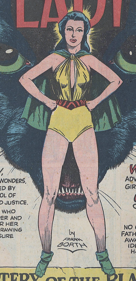 A panel from the Phantom Lady story in Police Comics #17, January 1943