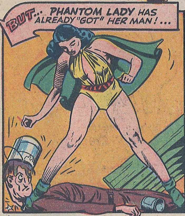 The Phantom Lady stomps a criminal in the throat in Police Comics #17, January 1943