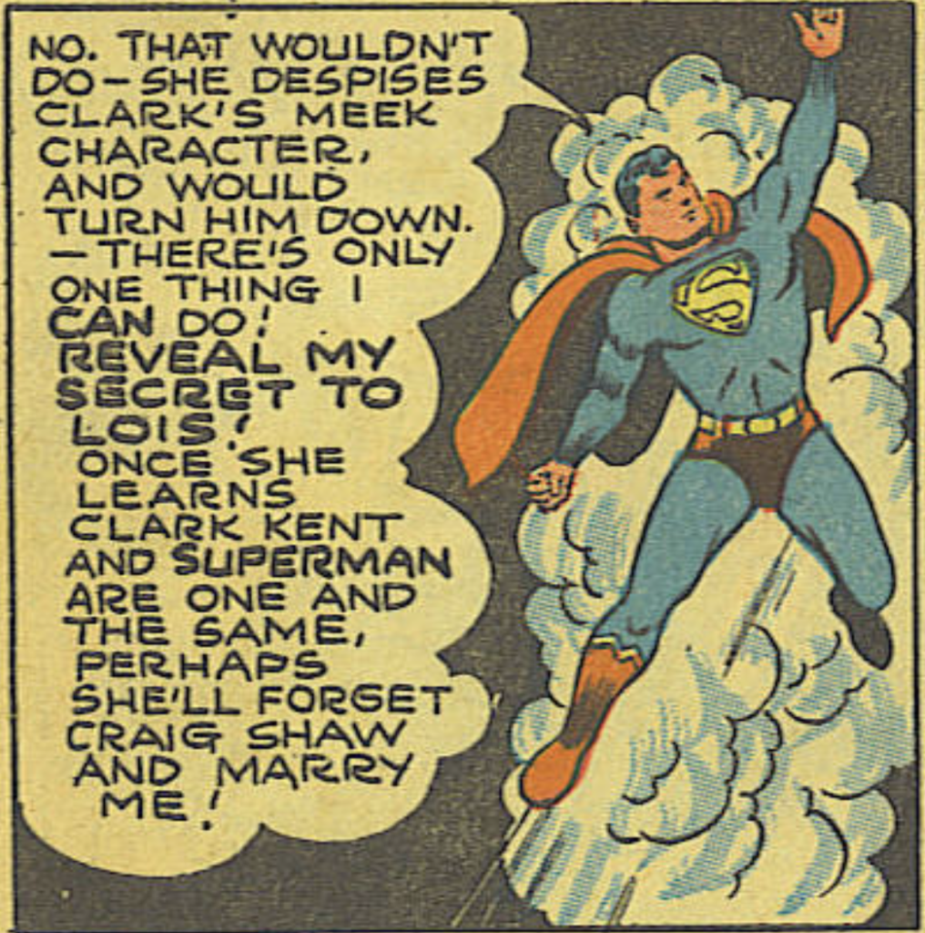 Superman decides to reveal his identity to Lois in Action #61, April 1943