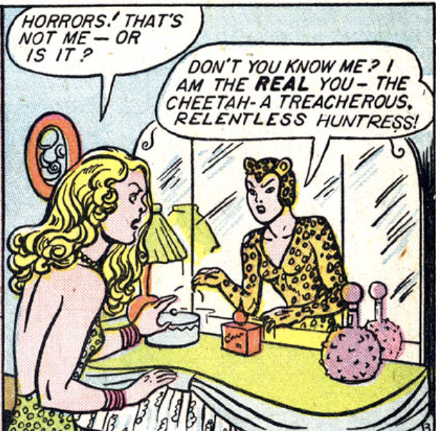 A panel from the first Cheetah story in Wonder Woman #6, August 1943