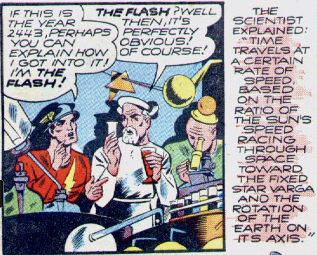 The first time the Flash time traveled, from Flash Comics #44, June 1943