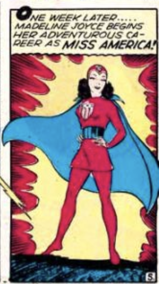 A panel from Miss America in Marvel Mystery Comics #49, September 1943