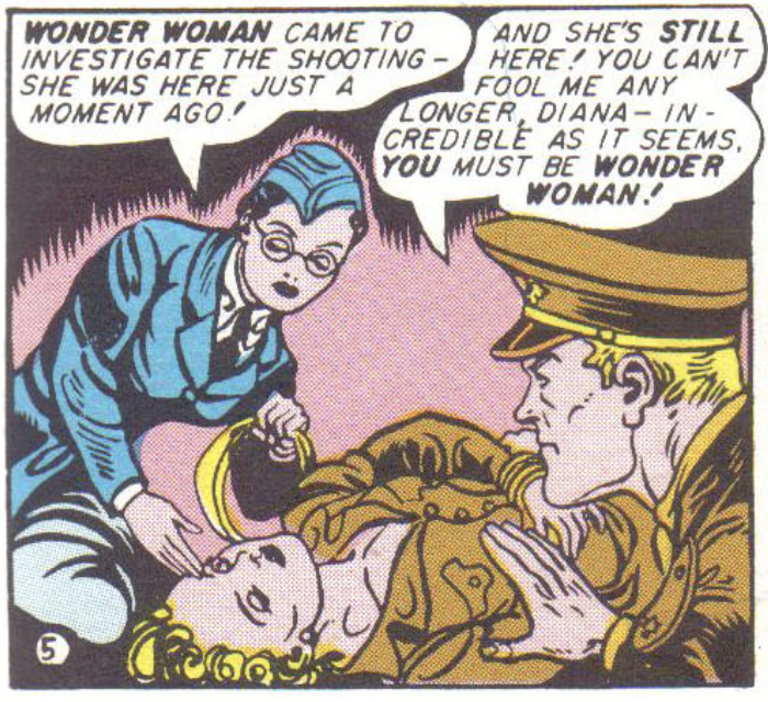 Steve suspects Diana of being Wonder Woman in Sensation Comics #20, June 1943
