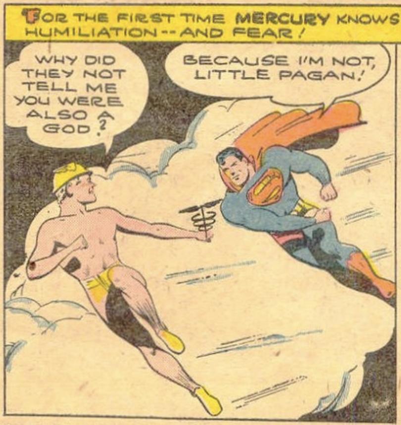 Superman meets the God Mercury in Superman #20, November 1943