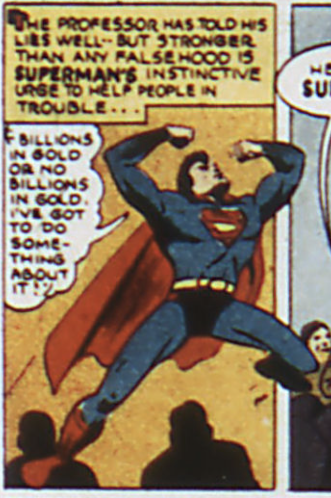 Superman's instinct takes over, Action Comics #63, June 1943