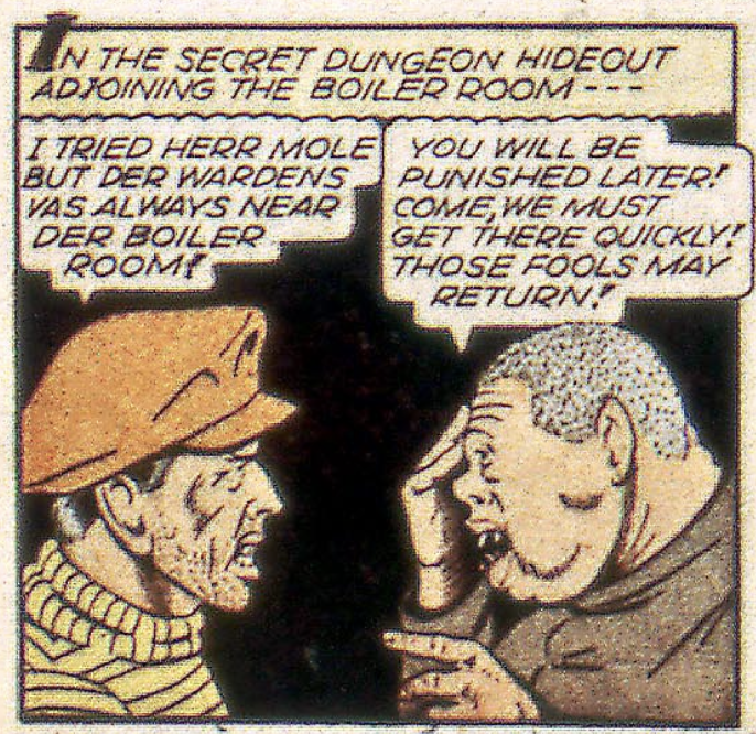 A panel featuring the Mole Man from Captain America #32, September 1943