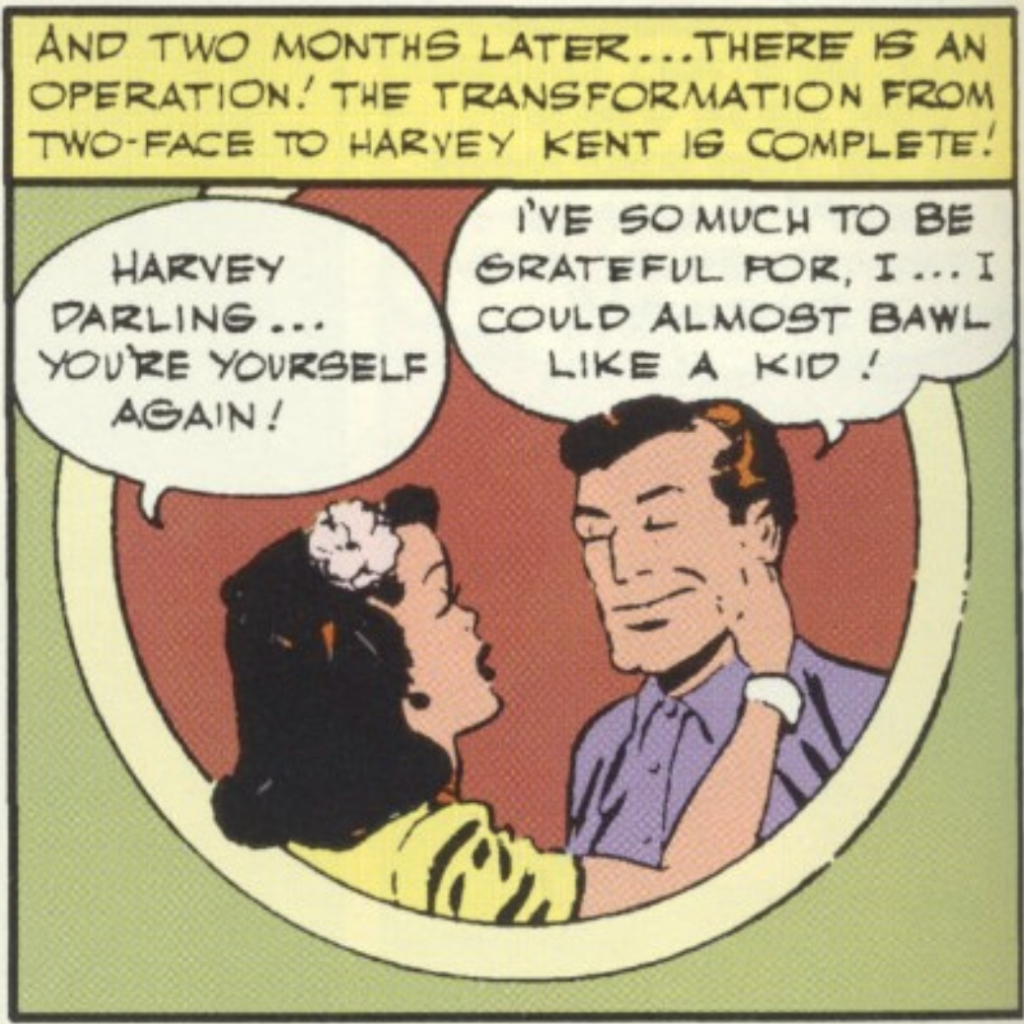 A panel of the reformed Two-Face from Detective Comics #80, August 1943