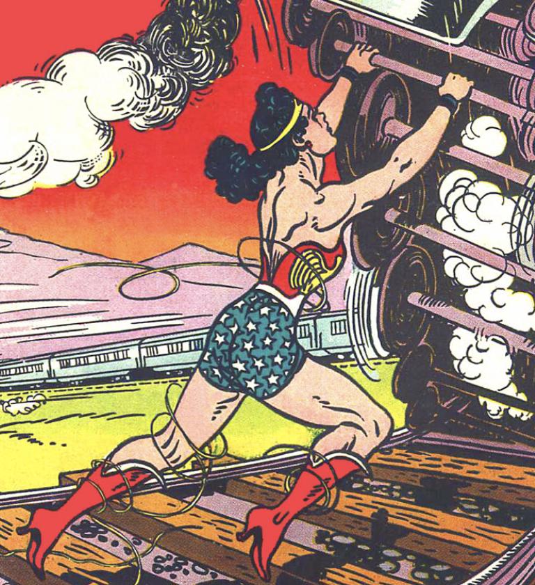 The cover splash from Sensation Comics #26, December 1943