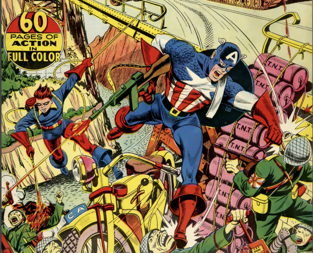 A portion of the cover of Captain America #41, June 1944