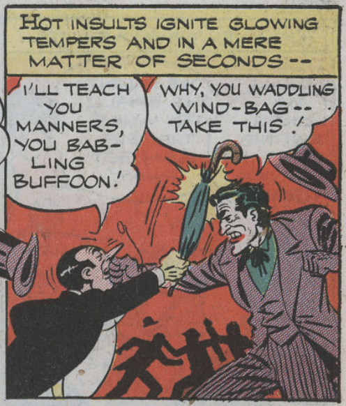 A panel from the first Penguin-Joker team-up from Batman #25, August 1944