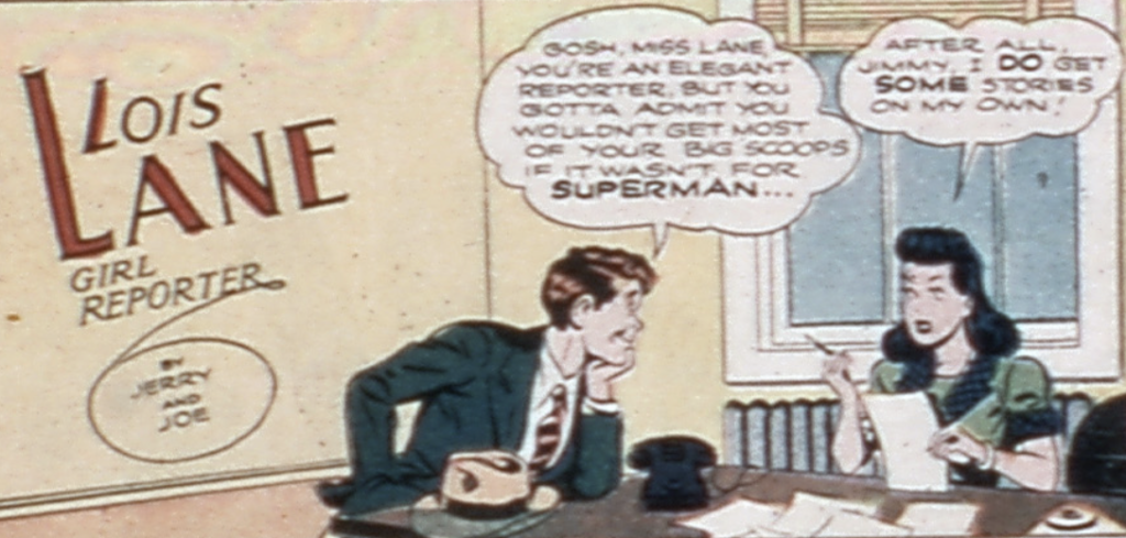 A panel from Lois Lane, Girl Reporter, in Superman #28, March 1944