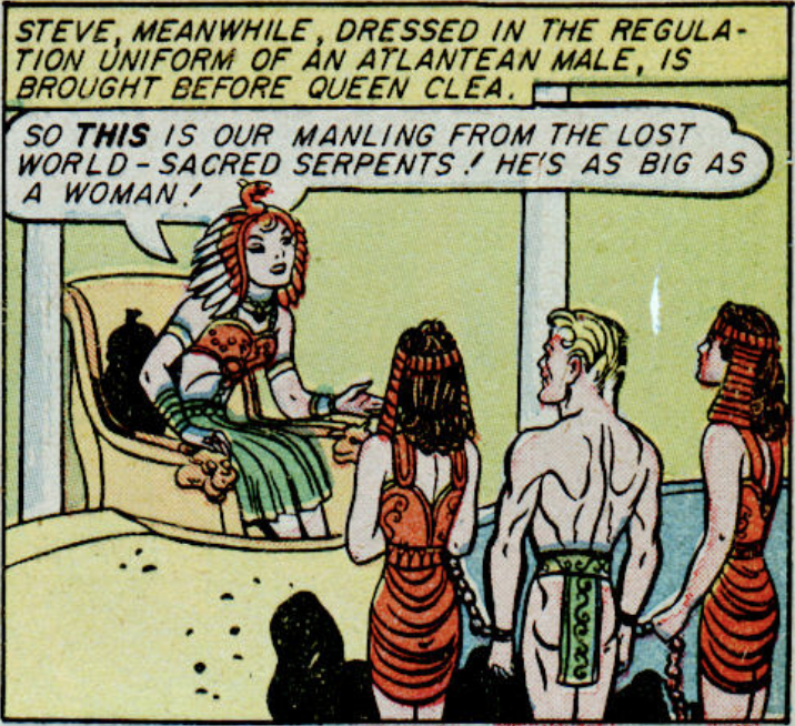 Steve Trevor in chains, Wonder Woman #8, February 1944