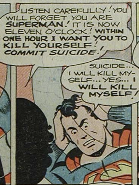 Superman hypnotized and suicidal in Superman #29, May 1944