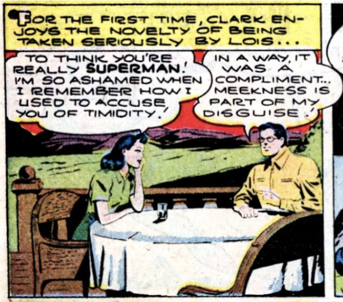 Lois learns Clark's secret for the first time in Superman #34, March 1945