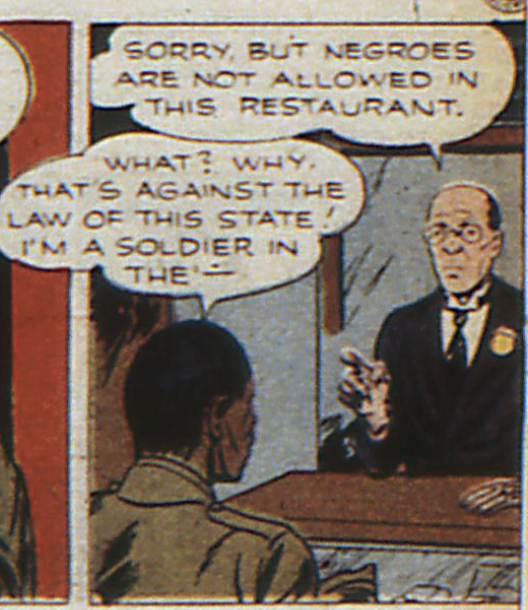 A panel depicting discrimination against African Americans in World's Finest #17, January 1945