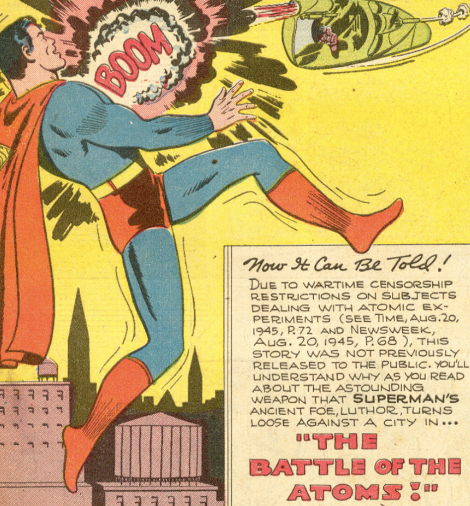 "The splash page from ""The Battle of the Atoms"" in Superman #38, October 1945"