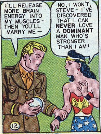 Wonder Woman declaring she can never love a dominant man.