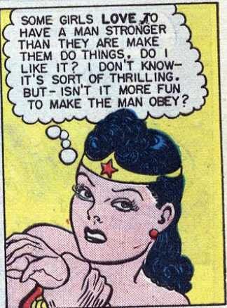 Wonder Woman wondering if she likes being dominated, in a panel from Sensation Comics #46.