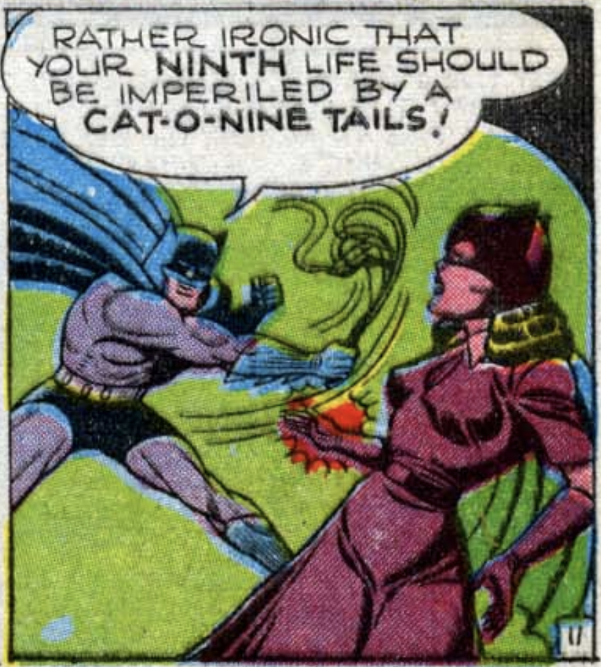 """A panel from """"Nine Lives has the Catwoman"""" in Batman #35, April 1946"""
