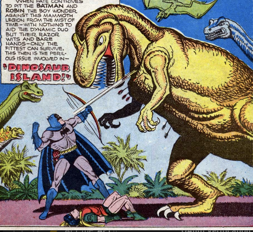 "A panel from ""Dinosaur Island!"" in Batman #35, April 1946"