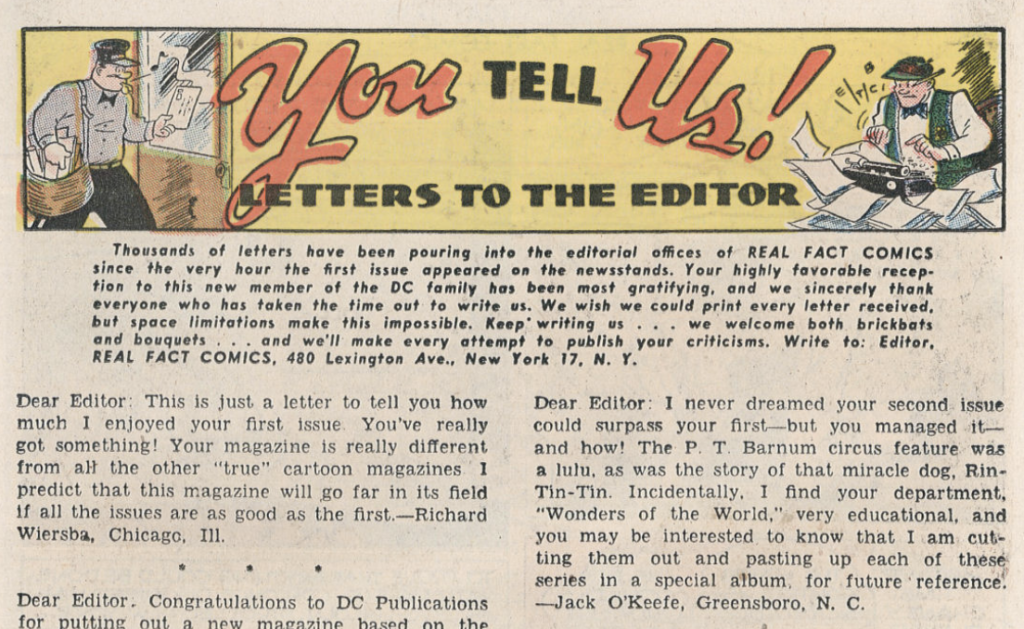 The letters column from Real Fact Comics #3, May 1946