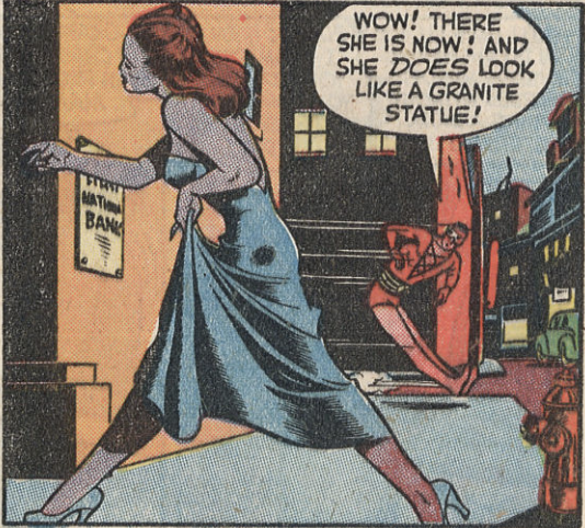 A panel from the Plastic Man story in Police Comics #51, December 1945