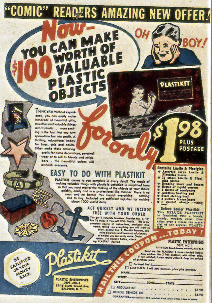 An ad for Plastikit from All-Winners #18, April 1946
