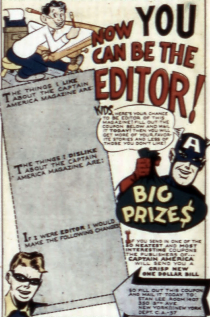 An letter from the editor from Captain America #57, April 1946