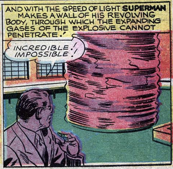 A panel showing Superman containing an explosion from Superman #43, Sept 1946