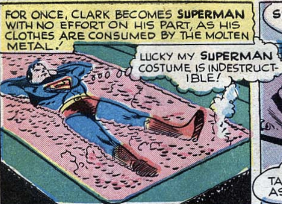 A panel showing Superman's costume is invulnerable from Superman #43, Sept 1946