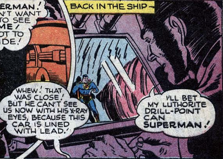 """A panel from """"The Molten World"""" in Superman #43, September 1946"""