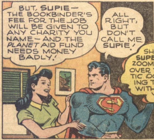 """Lois gives calls Superman """"Supie"""" in World's Finest Comics #29, May 1947"""