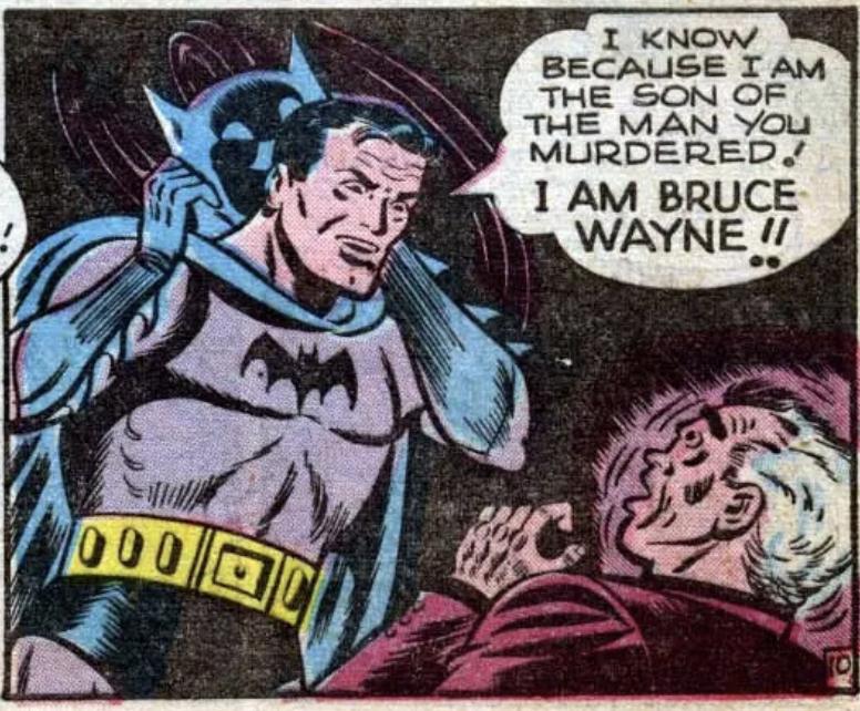 Batman reveals his identity to his parent's killer in Batman #47, April 1948