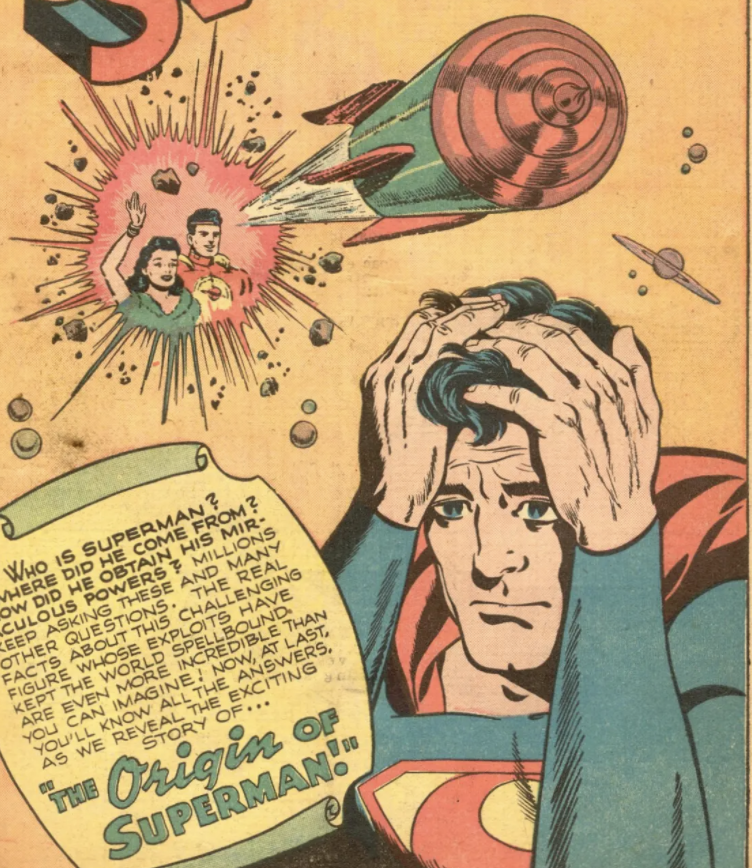 The splash panel from Superman #53, May 1948