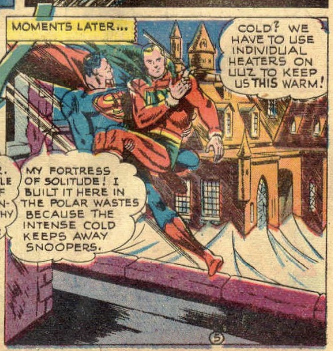 A panel depicting the Fortress of Solitude from Superman #58, March 1949