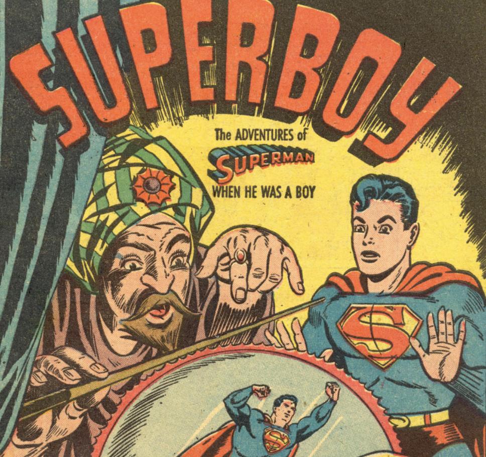 The splash panel for Superboy #1, January 1949