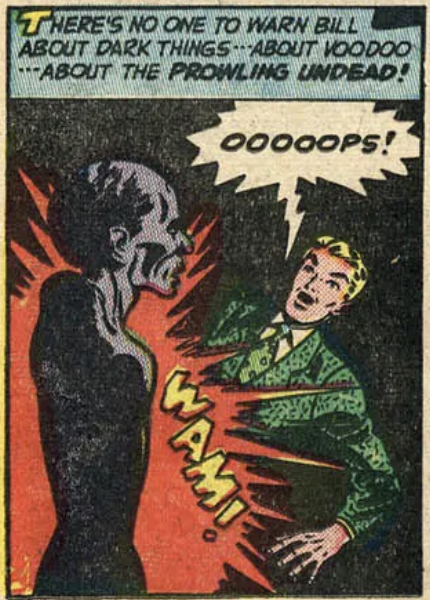 A panel from Adventures of the Unknown #7, August 1949